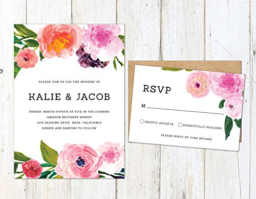 Spring Wedding Invitation, Painted Floral Invitation, Colorful Flowers Wedding - Painted Wedding Hand Invitations