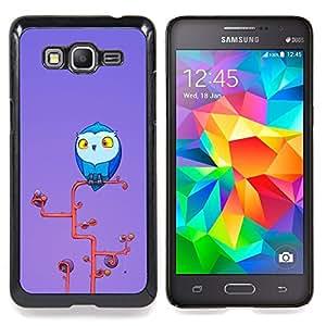 """Qstar Arte & diseño plástico duro Fundas Cover Cubre Hard Case Cover para Samsung Galaxy Grand Prime G530H / DS (Búho azul Big Eyes Amarillo Arte rama de árbol"""")"""