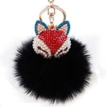 Real Fox Fur Ball with Artificial Fox Head Inlay Pearl Rhinestone Key Chain for Womens Bag or Cellphone or Car Pendant (01) by onlyou keychain