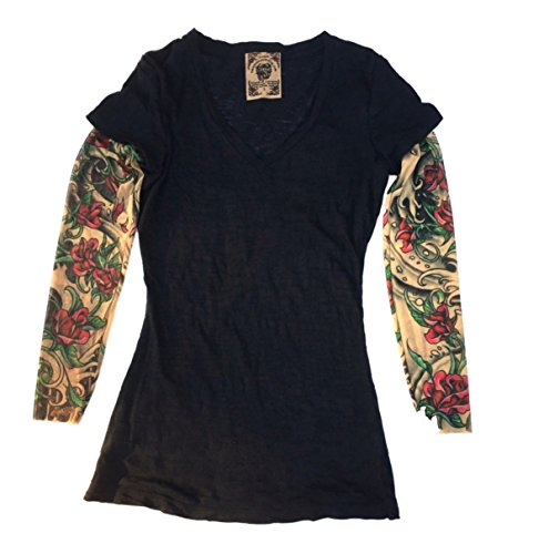 Wild Rose Ladies Tattoo Sleeve Burnout Shirt, Sheishe, Black, Large