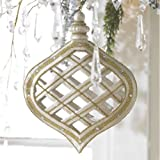 RAZ Imports - Gold, Silver & Pearl Flat Lattice Ornament