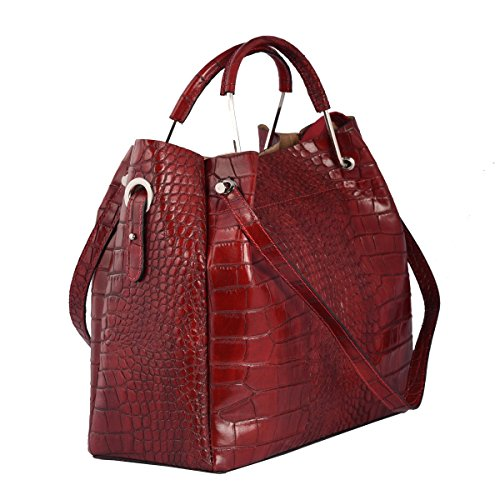 Borsa A Spalla In Vera Pelle Colore Rosso - Pelletteria Toscana Made In Italy - Borsa Donna
