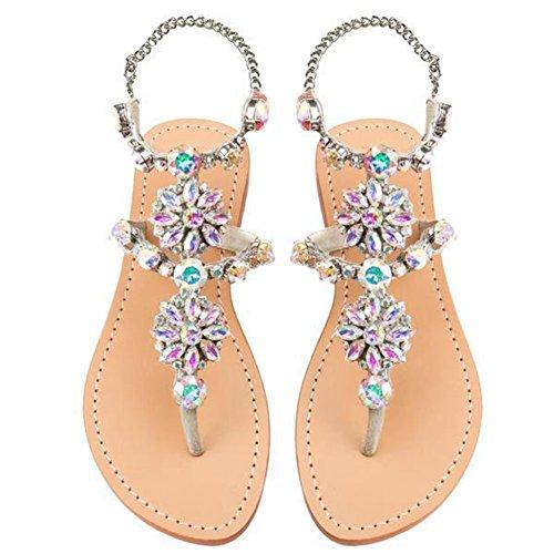 azmodo Womens PU Rhinestones Chains Flat Gladiator Sandals Wedding Shoes Silver Color