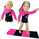 Fits American Girl Gymnastics Outfit Sparkling Diamond Pink & Black w/BONUS Mat | 18-inch Doll Clothes and Accessories | Outfits for American Girl Dolls 3 Pieces