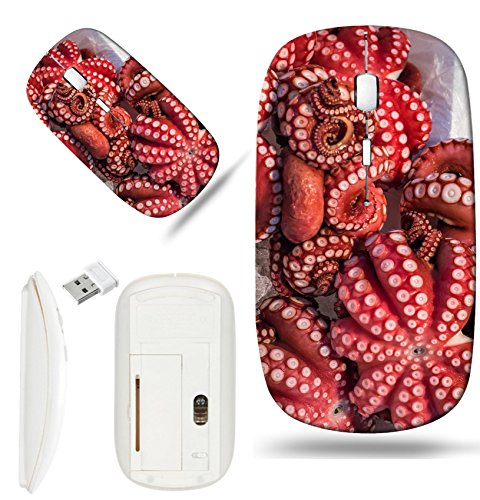 Luxlady Wireless Mouse White Base Travel 2.4G Wireless Mice with USB Receiver, 1000 DPI for notebook, pc, laptop, macdesign IMAGE ID: 35592186 Red live octopus at Tsukiji fish market Tokyo Japan ()