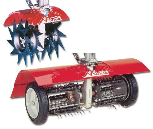 Mantis 7321 Power Tiller Aerator Dethatcher Combo Attachment For Gardening