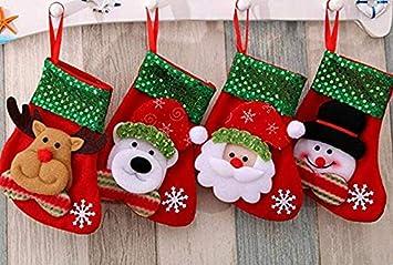 Medias de Navidad, Ornamento Colgante del árbol de la Media de 4 PC, Calcetines del Bolso del Regalo del Caramelo de Navidad (Pequeñas Medias de Navidad): ...