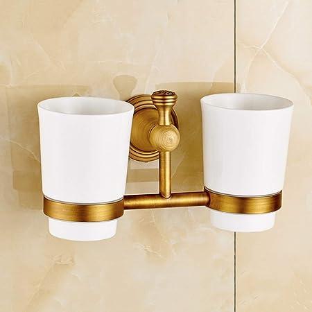 Salle de bains en laiton Brosse à Dents Support double en céramique tasse gobelet mural