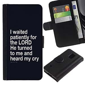 LASTONE PHONE CASE / Lujo Billetera de Cuero Caso del tirón Titular de la tarjeta Flip Carcasa Funda para Samsung Galaxy S5 V SM-G900 / BIBLE I Waited Patiently For The Lord - Psalm 40:1
