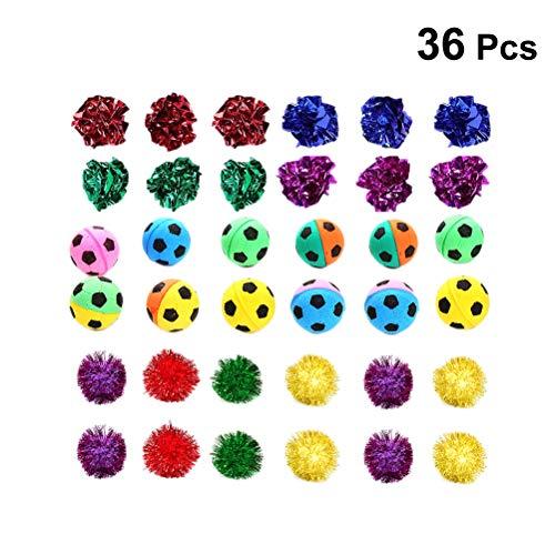 (POPETPOP 36 Packs Assorted Color Cat Ball Toy Set Crinkle Balls Sparkle Balls Sponge Soccer Balls)