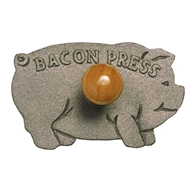 Norpro Bacon Press Pig Shaped Cast Iron with Wood Handle Grill/Panini 5.25  Wide
