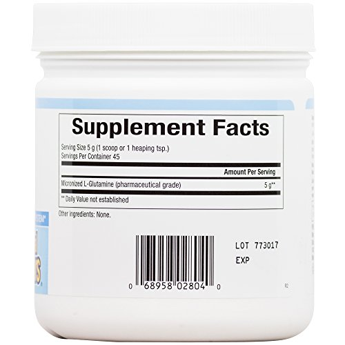Natural Factors Micronized L Glutamine Powder Free Form Amino Acid 5000mg Support for Muscle Tissue & Immune System