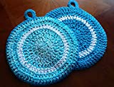 Hand Crocheted Large Round Potholders, Double Thick Cotton, set of two, Caribbean ocean splash and turquoise