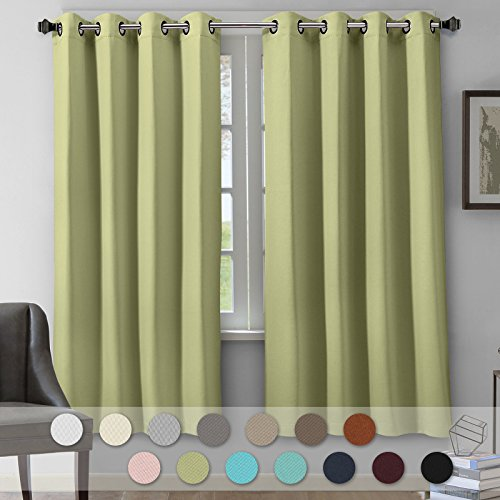 """VEEYOO Blackout Curtains Grommet Top Thermal Insulated Room Darkening Window Curtains and Drapes for Living Room, 2 Panels, 52"""" W x 84"""" L, Sage"""