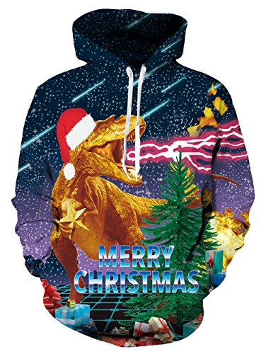 (Loveternal Unisex Christmas Ugly Hoodie Galaxy Dragon Printed Drawstring Pocket Make Up Pullover Hoodies Sweatshirt for Women Men S)
