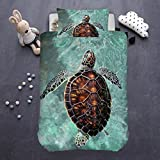 ARIGHTEX Sea Turtle Bedding 2 Pieces Hawaii Animals Duvet Cover Honu Turtle Swimming Beach Style Bedroom Sets for Kids (Single)