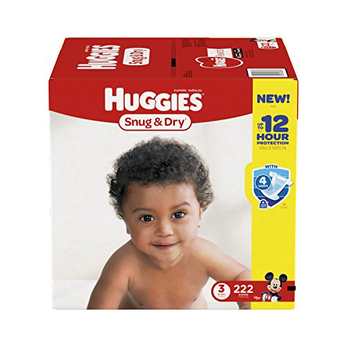 : HUGGIES Snug & Dry Diapers, Size 3, for 16-28 lbs., One Month Supply (222 Count) of Baby Diapers, Packaging May Vary