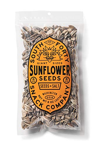 Premium Sunflower Seeds | Jumbo Sized, Batch Roasted, Perfectly Salted, In-Shell - Large 8oz Snack Bag, Packaged for Ultimate Freshness South 40 Snacks