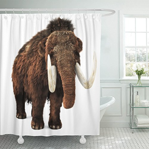 Emvency Shower Curtain Age Woolly Mammoth on White 3D Rendering Ice Animal Waterproof Polyester Fabric 72 x 72 inches Set with Hooks