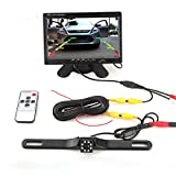 7 Inch TFT Car LCD Monitor, 2 Ways Video Input Car Rear View Monitor + Waterproof backup Camera with Night Vision Function, Security Parking System