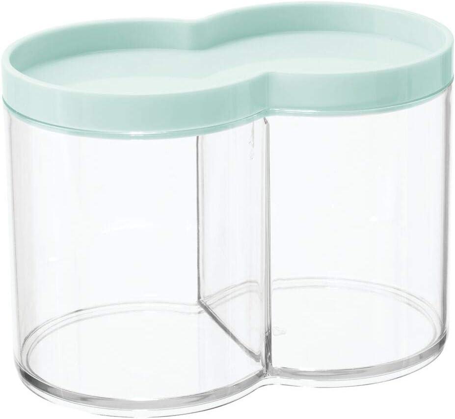mDesign bo/îte de Rangement Plastique utilisable comme bo/îte /à Coton et Distributeur Coton Tige Vert Menthe empilable et avec Couvercle Pratique