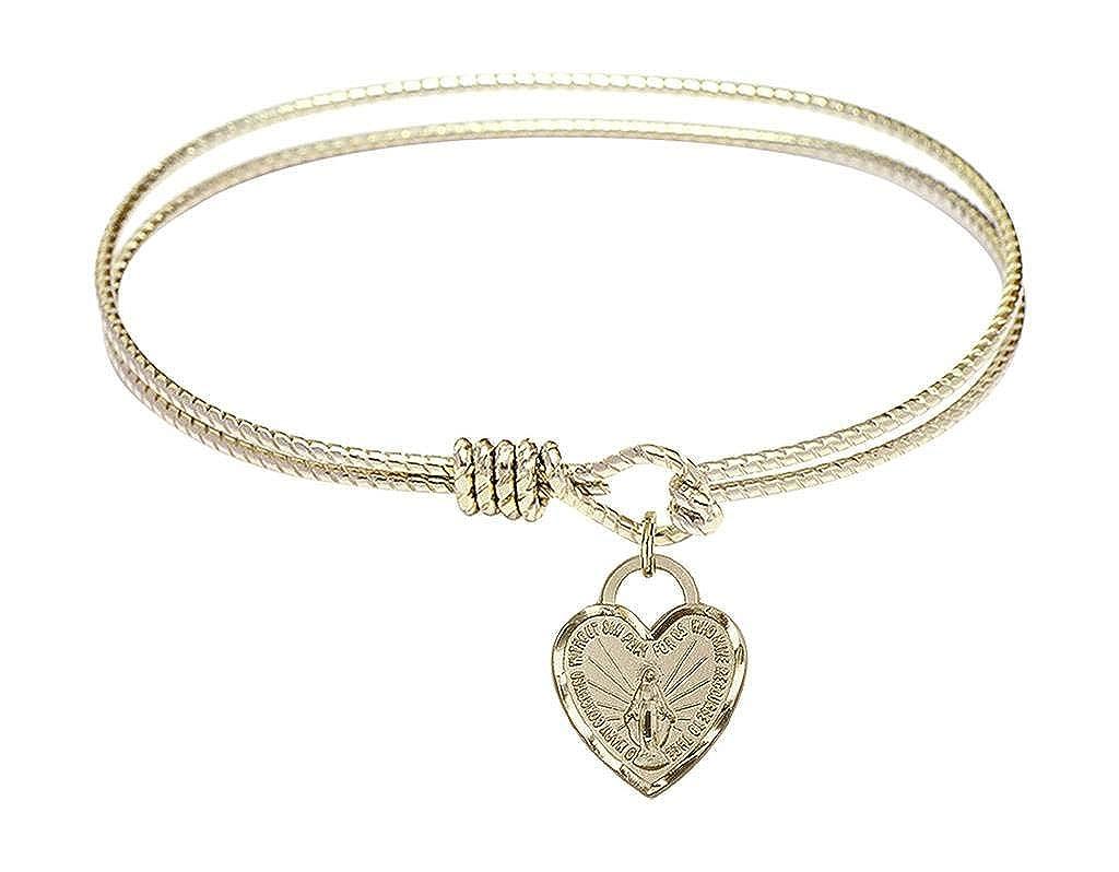 7 inch Oval Eye Hook Bangle Bracelet with a Miraculous charm.