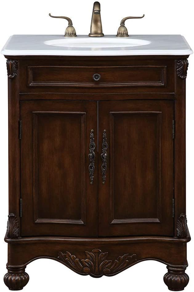 Amazon Com Elegant Decor Vf 1033 Single Bathroom Vanity Set 27 Teak Vf 1033 Home Kitchen