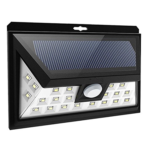 PRIGER Solar Motion Sensor Outdoor Door 24 LED Lights Exterior Security wall Lights for Front Door, Patio, Deck, Yard, Garden, RV, Driveway, Fence post, wall, luces Solares - Exterior Deck Light
