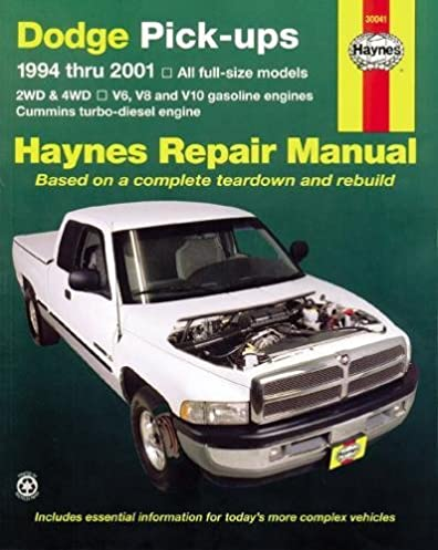 dodge pick ups 1994 2001 haynes repair manuals haynes rh amazon com 2001 dodge ram 1500 haynes manual 2001 dodge ram 1500 parts manual