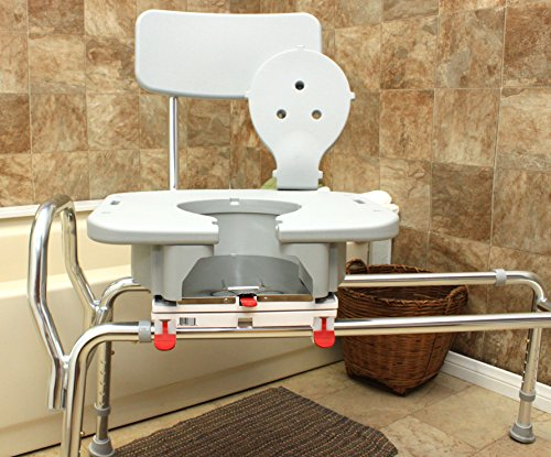 Swivel Sliding Bath Transfer Bench with Replaceable Cut-Out Seat (77683) - Long (Base Length: 43'' - 44'') - Heavy-Duty Shower Bathtub Chair - Eagle Health Supplies by Eagle Health Supplies (Image #1)