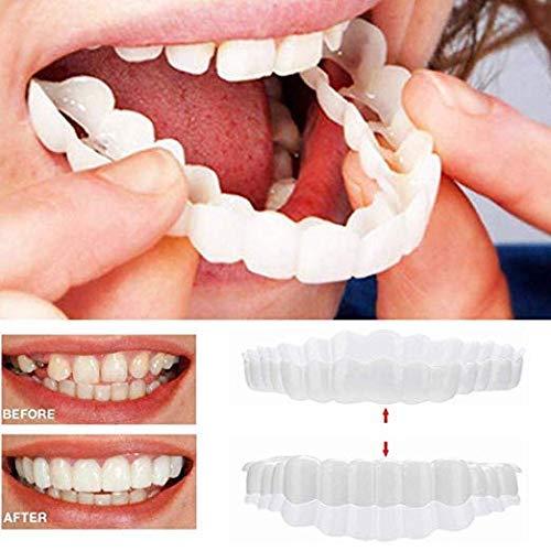 Braces Instant Veneers Dentures Fake Teeth Smile Serrated Denture Teeth Top and Bottom Comfort Fit Flex Teeth Socket to Make White Tooth Beautiful ()