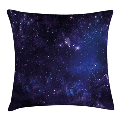 Galaxy Throw Pillow Cushion Cover by Ambesonne, Celestial Stars in Night Sky Stardust in Clouds Magical Fantasy World of Space, Decorative Square Accent Pillow Case, 18 X18 Inches, Black Navy Blue Celestial Throw