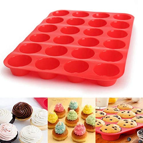 - 24 Cavity Mini Muffin Silicone Soap Cookies Cupcake Bakeware Pan Tray Mould,Red