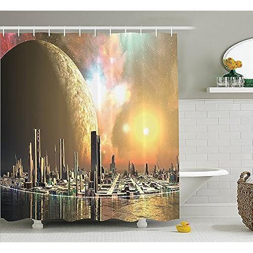 Elegant Ambesonne Fabric Shower Curtain Set, Utopia Islands Floating Future Cities  Imaginary Fantasy Artwork Futuristic Home, Fabric Bathroom Decor With  Hooks, ...