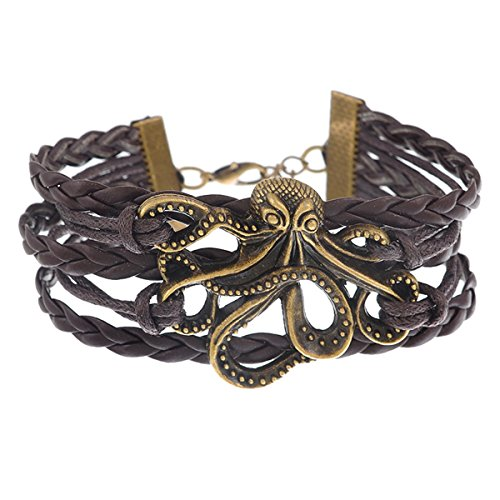 HooAMI Wide Opening Adjustable Punk Style Leather Cuff Wrap Bangle Bracelet with Octopus
