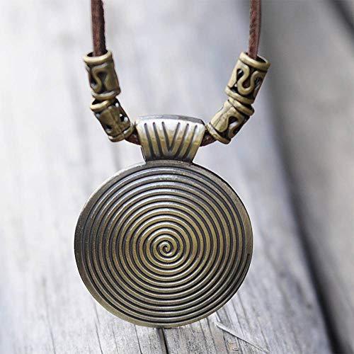 Jewelryamintra Vintage Necklace Jewelry Boho Genuine Leather Rope Disc Pendant Sweater Chain