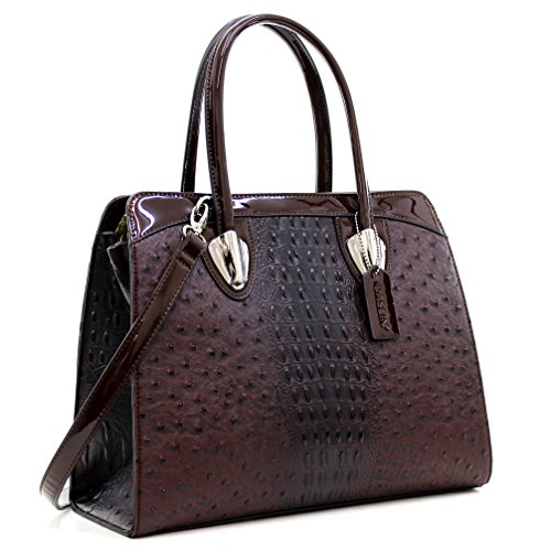 Shoulder Structured Satchel Bag Coffee Tote Work Women's Double Handle Handbags Ostrich Zip Top Dasein Purse 4vXwqFB