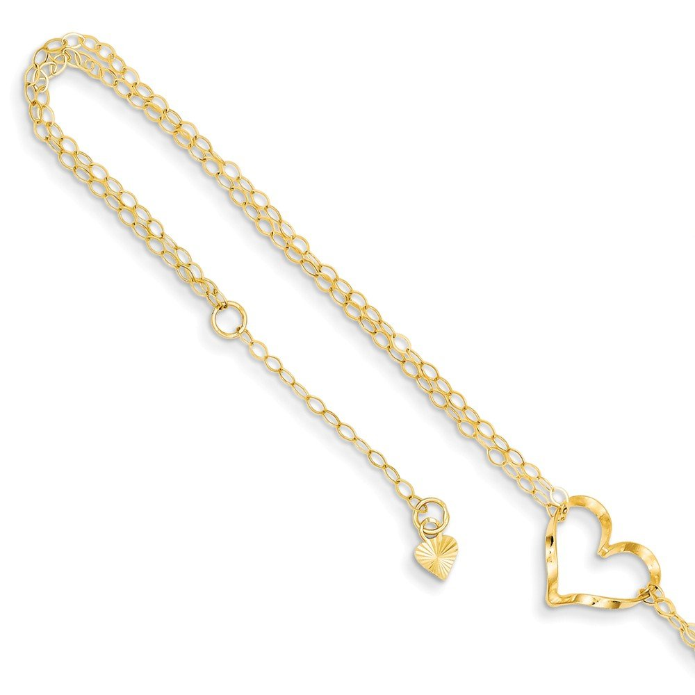 Solid 14k Yellow Gold Double Strand Heart 9 With 1 Ext Anklet 9'' (11mm)