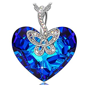 J.NINA Mothers Day Necklace Jewelry Gifts for Women with Heart Swarovski Crystal Butterfly Love Hallow Design Pendant Anniversary Birthday Gift for Wife Girlfriend Daughter Fashion Jewelry for Her