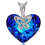 "J.NINA - Valentines Day Gifts Packing - ""Butterfly Love"" Made with Bermuda Blue Swarovski Crystals Heart Design Women Jewelry Pendant Necklace"