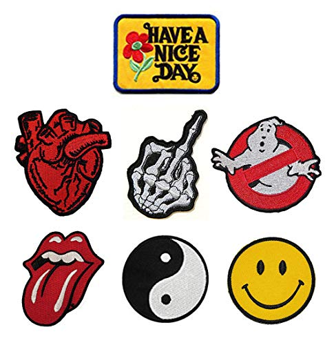7 Pieces Funny Have A Nice Day/Heart/Skull Middle Finger/Ghostbuster Movie Uniform Logo/Rolling Stone Tongue/Taiji Symbol/Smile Face Embroidered Applique Morale Patches ()