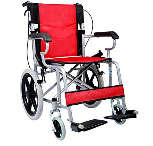 Comfy Go Wheelchair Red - Foldable Lightweight Manual Transport Medical Wheelchair (Red)