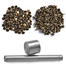 XCSOURCE Leathercraft 8mm Die Punch Tool Kit + 100 Sets Double Cap Rivets Snap Fastener Press Studs Button CR001