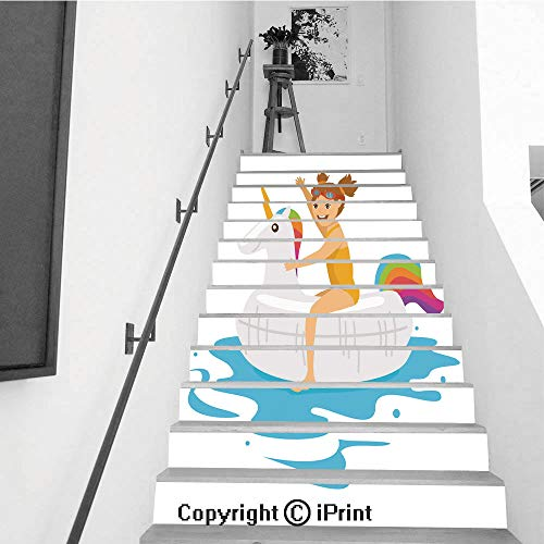 Ring Shapes Trimmed (baihemiya stickers 13Pcs Stair Sticker Decals 3D Creative Building Stair Risers Tiles Wallpaper Mural Self-Adhesive,Cute Girl Sitting on Swimming Floating Inflatable Ring in Shape of Unicorn)