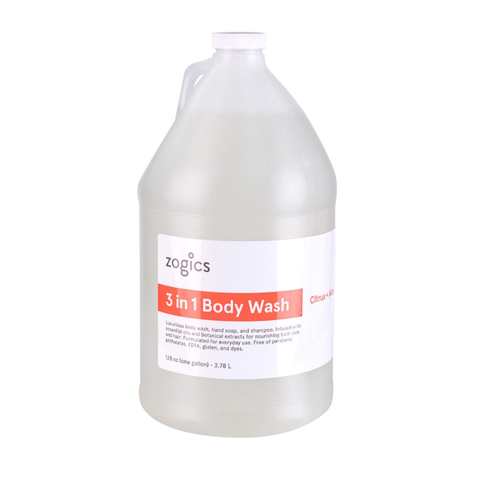 Zogics Body Wash, Shampoo and Hand Soap, Citrus Aloe Scented 3-in-1 Liquid Soap 4 Gallons Case