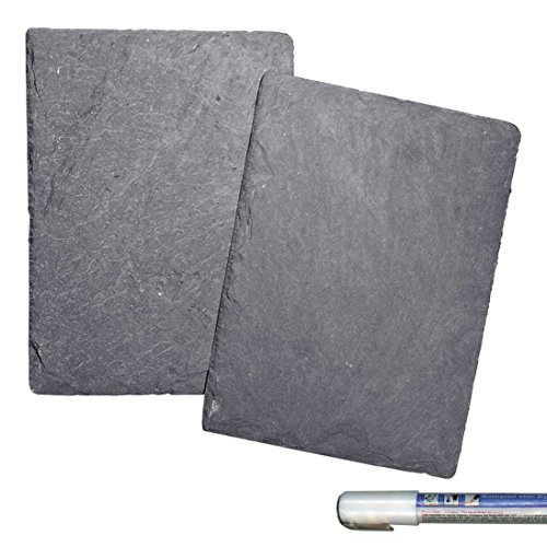 Cohas Slate Food and Cheese Platter or Art Boards includes Waterproof Liquid Chalk Marker and 2 Mini 6 by 8 Inch Boards, Undrilled -