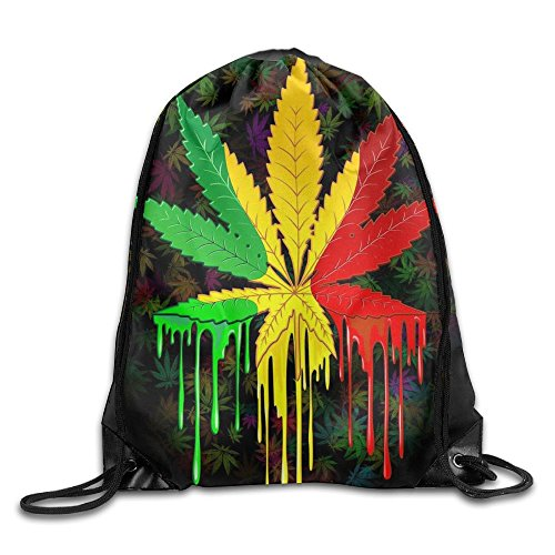 Price comparison product image Marijuana Leaf Weed Cannabis Cool Drawstring Travel Sports Backpack Gift