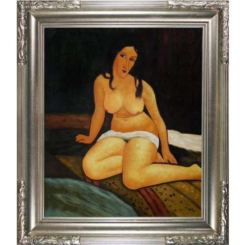 overstockArt Seated Nude 1917 Oil Painting with Florentine Dark Champagne Frame by Modigliani