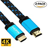 4K HDMI Cable 3.3 FT - (2 PACK) FiveHome HDMI 2.0(4K@60Hz) Ready - 18Gbps - 30 AWG Braided Cord -Supports 4K HDR, 3D, 2160P, 1080P, Ethernet for TV, Monitor, Xbox, PS4/3,Blu-ray Player, HDMI Switcher