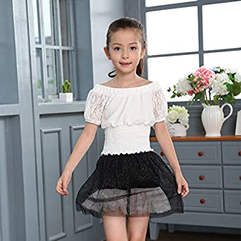 MV Short Sleeved Lace Girl Chiffon Short Sleeved New Childrens Clothes Summer